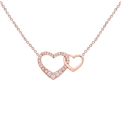 August Woods Rose Gold CZ Link Plain Heart Necklace