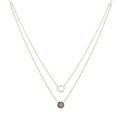 August Woods Rose Gold Heart Double Layer Necklace