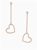 Kate Spade New York Yours Truly Pave Heart Linear Earrings
