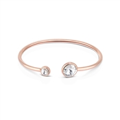 August Woods Rose Gold Double Crystal Open Bangle