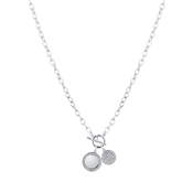August Woods Silver CZ Toggle Circle Necklace