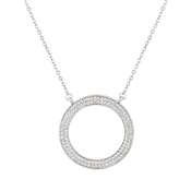 August Woods Silver CZ Open Circle Necklace