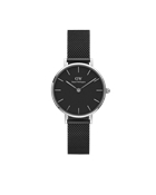 Daniel Wellington Petite Black Ashfield 28mm Silver Watch