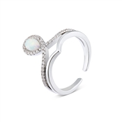 Dirty Ruby Silver Faux Opal CZ Teardrop Adjustable Ring