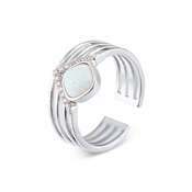 Dirty Ruby Silver Faux Opal CZ Adjustable Ring