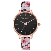 Ted Baker Kate Peach Blossom Leather Black Dial Watch