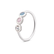 August Woods Silver Blue Pink Clear Ring