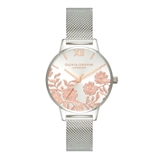 Olivia Burton Midi Lace Detail Rose Gold + Silver Watch