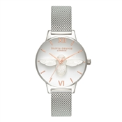 Olivia Burton Midi 3D Bee Rose Gold + Silver Mesh Watch