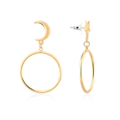 Dirty Ruby Gold Star and Moon Hoop Earring