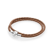 PANDORA Brown Braided Double-Leather Charm Bracelet