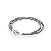 PANDORA Silver Grey Braided Double-Leather Charm Bracelet