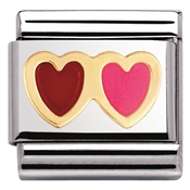 Nomination Red and Pink Heart Charm
