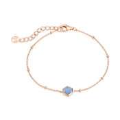 Argento Rose Gold + Blue Glass Honeycomb Bracelet