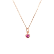 Argento Rose Gold Dot Border Ruby Necklace