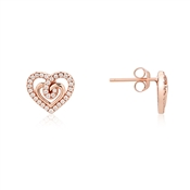 Argento Rose Gold Heart Twist Stud Earrings
