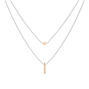 Argento Rose Gold Mix Double Layer Bar Necklace