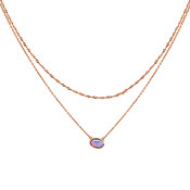 Argento Rose Gold Oval Purple Opal Necklace