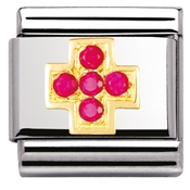 Nomination Red CZ Cross Charm