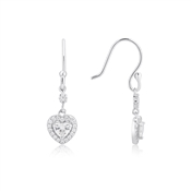 Argento Silver Crystal Heart Drop Earrings