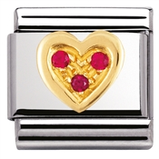 Nomination Red CZ Heart Charm