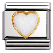 White Opal Heart Charm by Nomination