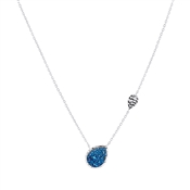 Argento Silver Navy Druzy Necklace