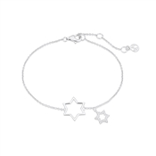 Argento Silver Open Double Star Midnight Bracelet