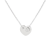 Argento Silver Heart Plate Crystal Necklace