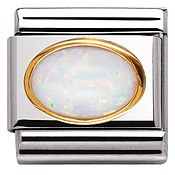 Nomination Oval White Opal Charm