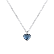 Argento Silver Denim Crystal Heart Necklace