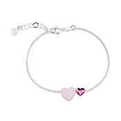 Argento Silver Rose Crystal Double Heart Bracelet