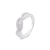 Argento Silver Crystal Twist Ring