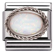 Framed White Opal Stone Charm by Nomination