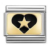 Nomination Gold Star in Heart Charm
