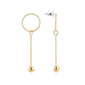 Dirty Ruby Gold Circle Bar Drop Earring