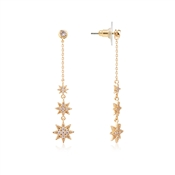Dirty Ruby Gold Crystal Star Long Drop Earring