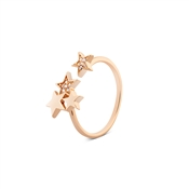 Dirty Ruby Gold Open Crystal Stars End Ring
