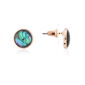 August Woods Rose Gold Abalone Stud Earrings