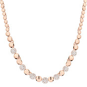 August Woods Rose Gold Crystal Alternate Circle Necklace