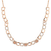 August Woods Rose Gold Champagne Crystal Open Necklace