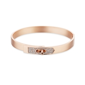 Dirty Ruby Rose Gold Clear Crystal Clasp Bangle