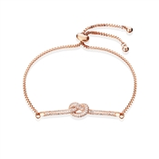 Rose Gold Clear Crystal Knot Pull Bracelet by August Woods