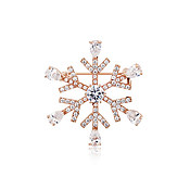 August Woods Rose Gold Clear Crystal Snowflake Brooch