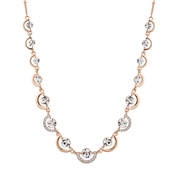 August Woods Rose Gold Crystal Half Circle Link Necklace