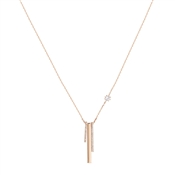 August Woods Rose Gold Crystal Long Bar Drop Necklace