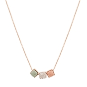 August Woods Rose Gold Geo Rock Crystal Square Necklace