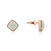 August Woods Rose Gold Green Square Stud Earrings