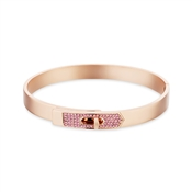 Dirty Ruby Rose Gold Pink Crystal Clasp Bangle