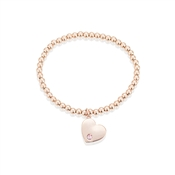 Dirty Ruby Rose Gold Pink Crystal Heart Bracelet